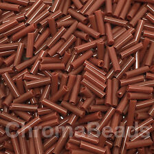 50g glass bugle beads - Brown Opaque - approx 6mm tubes, jewellery making, craft