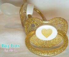 Adult Baby Sparkle Heart Paci large pacifier GOLD Big Tots abdl