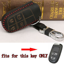 Leather 4 BTN Remote Keyfob Key Holder Cover Case Fob For Grand Cherokee Patriot