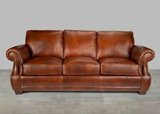 Brown Leather Sofa 100% Top Grain Alligator Embossing Nailhead Trim Rolled Arms