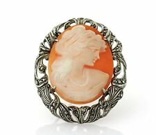 Vintage Sterling Silver Cameo Marcasite Brooch/Pin/Pendant - Rare