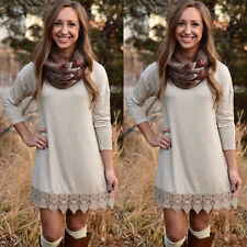 Womens Long Sleeve Knitted Sweater Mini Swing Dress Pullover Hoodie Jumper Tops