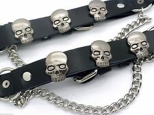 Skull Black Leather Biker Western PAIR Boot Straps W Chain Buckle Women's Men's