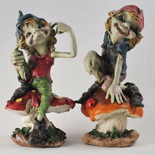 Pixies Sat on Mushrooms Pair Garden Magic Decor Outdoor Fairy Elf Gift 39129