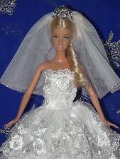 Puppenkleidung, Braut-Outfit für Puppen 30 cm, mit Strassstein für , 3 Teilig