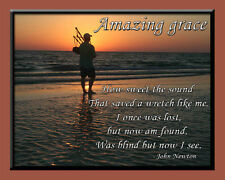 LAMINATED PRINT OF AMAZING GRACE WITH BAGPIPES  BY JOHN NEWTON