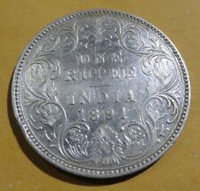 BRITISH INDIA * ONE RUPEE * QUEEN VICTORIA - 1891 - SILVER COIN - RARE