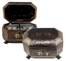 Antique Asian Papier Mache Tea Caddy w/ Inserts, Chinoise, Japonaise Gold Enamel