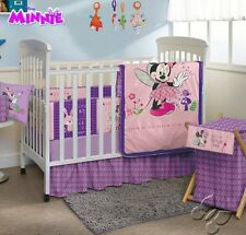 New Baby Girls DISNEY MINNIE Purple Nursery Crib Bedding Set 5 Pieces