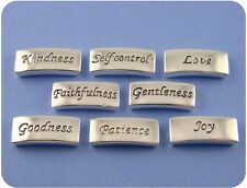 2 Hole Beads QTY 8 Engraved Silver Bars w/Love Kindness Joy Goodness Patience