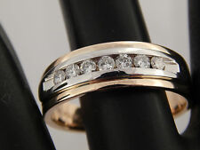 14k Men's Round Brilliant Diamond Ring Magic Glo .49 tcw G/VS Band Comfort Fit
