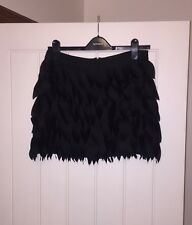 Rare @ TOPSHOP Black Laser Cut Feather Style Mini Skirt Short 10 12 ❤️ Sold Out
