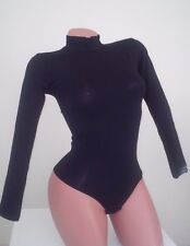 New lady cottom XS  Black bodysuit long sleeve stretch top   thong leotard