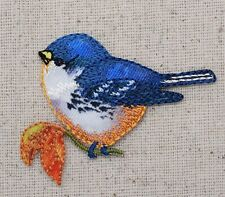 Iron On Embroidered Applique Patch Bluebird Blue Bird Orange Breast Holding Leaf