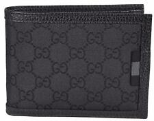 New Gucci 217044 Men's Black Nylon GG Web Tab Trifold Passcase ID Wallet