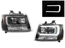 LED Light Bar Black Projector Headlight For 07-14 Chevy Avalanche Tahoe Suburban
