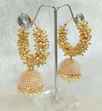 Indian Pearl Gold Plated Meena Kundan Minakari Earrings Wedding Jewelry Jhumka