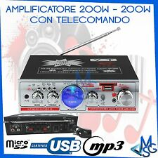 AMPLIFICATORE STEREO MP3 MICRO SD USB IN FILODIFFUSIONE TELECOMANDO HI-FI