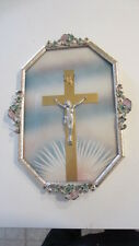 Vintage Pastel Floral Art Deco & Convex Glass Metal Framed Crucifix Wall Hanging