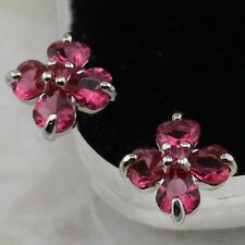 Lovely Nice Flower Ruby Red Jewelry Gold Filled Stud Lady Gift Earrings H1569