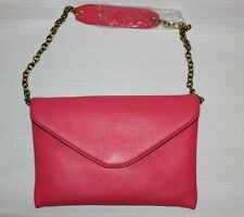 J Crew Invitation Clutch Neon Rose Leather $138 #53342 With Dust Bag