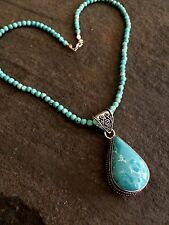 TURQUOISE PENDANT NECKLACE, STERLING SILVER BEADED DESIGNER GEMSTONE JEWELRY