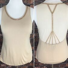 Wet Seal Top Tank Beige Nude Sleeveless Beaded Sheer Back Womens Xtra Large XL