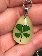 "Lucky 4 Leaf Clover Teardrop Resin Glow Dark Charm Tibetan Silver 18"" Necklace"