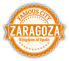 "Zaragoza City Spain Grunge Travel Stamp Car Bumper Sticker Decal 5"" x 4"""