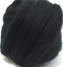 1 ounce 23mic Black Merino Wool Top Roving Fiber Spinning, Felting