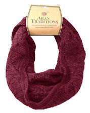 Aran Traditions Womans Ladies Men Winter Warm Knitted Style Raspberry Red Snood