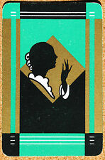 ART DECO - LADY - SILHOUETTE #a- SINGLE VINTAGE SWAP PLAYING CARD