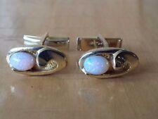 """Pink Colored Pearl Stone Gold Toned Oval Cufflinks 5/8"""" x 3/8"""""""