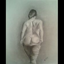 Original 14x17 pencil drawing of nude woman done by artist ARTuro