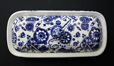 English Brownfield Razor Toothbrush covered Box blue Transferware Victorian 1875