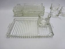 Orchard Crystal Snack Party Set Trays Cups Hob Nail Bubbles GC Set of 4
