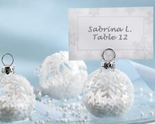 60 NEW Snowflake Ornaments Winter Wedding Place Card Holders Favors Q31625