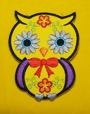 Embroidered Patch Iron Sew on Jacket T-Shirt Yellow Owl Flower Cartoon Cute #23