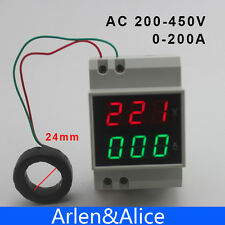 Din rail LED AC 200-450V 0-200A display Voltage and current meter with extra CT