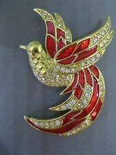 Giorgio Enamel Red Bird of Paradise Pave Set Rhinestones Gold Tone Pin Brooch