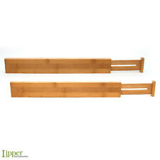 Adjustable Drawer Dividers Set 2 Bamboo Organizer Kitchen Lipper Expandable Tool