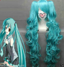 NEW Long VOCALOID hatsune miku blue Anime Cosplay wig + 2 Clip On Ponytail