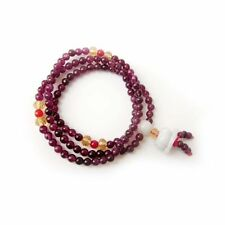 4mm Purple Jade Gem Tibet Buddhist Prayer Beads Mala Jadeite Lotus Pendant
