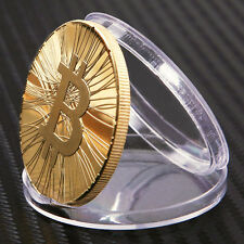 014 year Satoshi Nakamoto Gold Plated 1oz Bitcoin BTC 1 Physical Bit Coin