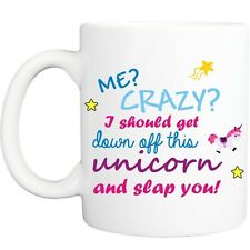 ME CRAZY UNICORN MUG funny novelty tea coffee gift womens office ideas christmas