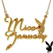 Playboy Necklace MISS JANUARY Bunny Pendant Gold Plated Playmate BIRTHDAY GIFT