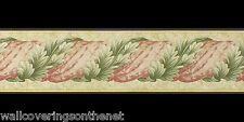 "Green & Red ""Twisted Acanthus Leaf""  Wallpaper Border (13cm x 4.57m)"