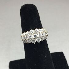 STUNNING STERLING SILVER & CZ FASHION CLUSTER RING! SIZE 6 TONS OF BLING!