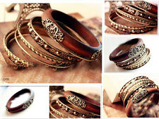 Pop Retro Multi-Layer Delicate Carved Wood Multi Bangle Bracelet Nice Gift NEW