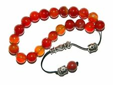 0244 Loose Strung Prayer Bead Worry Bead 21 x 10mm Natural Agate / Buddha Heads